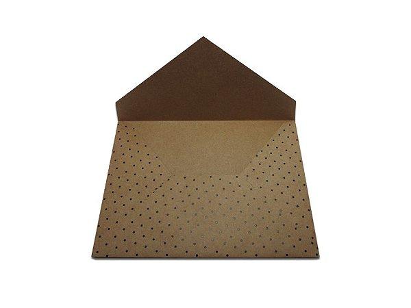 Envelopes convite Kraft Decor Bolinhas Pretas - Lado Externo com 10 unidades