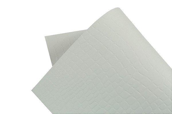 Papel Texture TX Croco Branco Brilho 30,5x30,5cm com 5 unidades