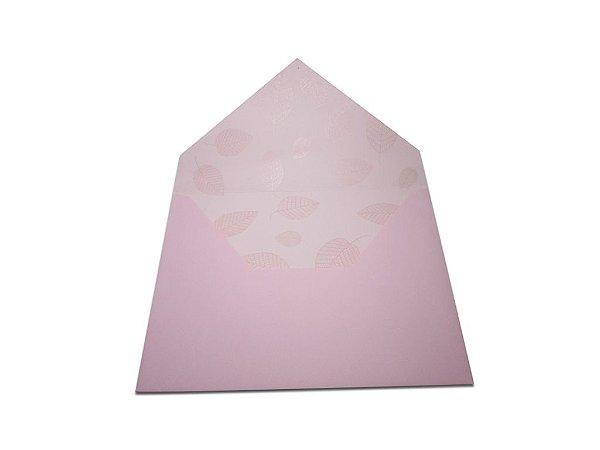 Envelopes convite Rosa Verona Decor Folhas Incolor - Lado Interno com 10 unidades