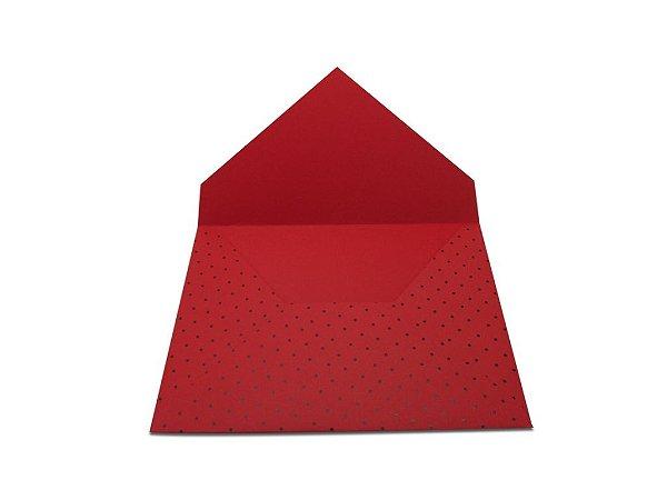 Envelopes convite Vermelho Decor Bolinhas Pretas - Lado Externo com 10 unidades