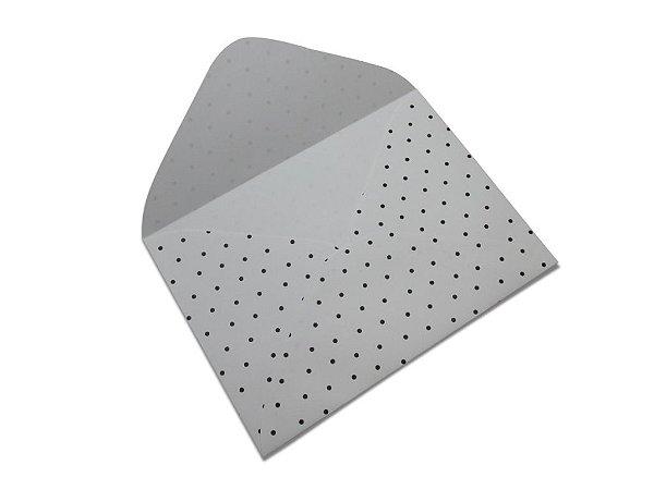 Envelopes carta Branco Decor Bolinhas Pretas - Lado Externo 10 unidades