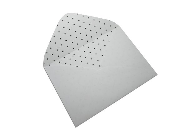 Envelopes carta Branco Decor Bolinhas Pretas - Lado Interno 10 unidades