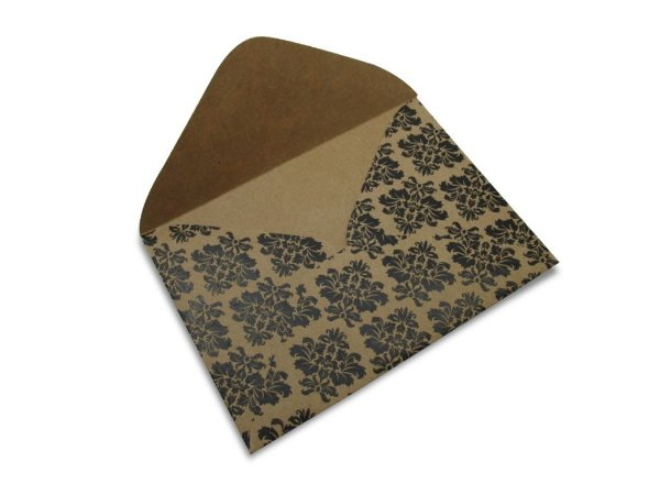Envelopes carta Kraft Decor Arabesco Preto - Lado Externo 10 unidades