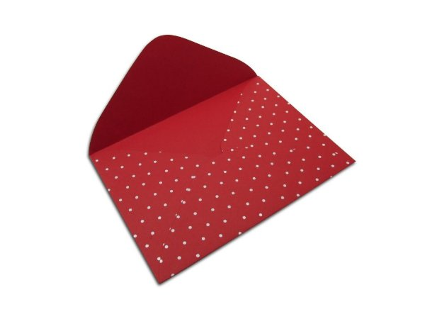 Envelopes carta Vermelho Decor Bolinhas Brancos - Lado Externo 10 unidades