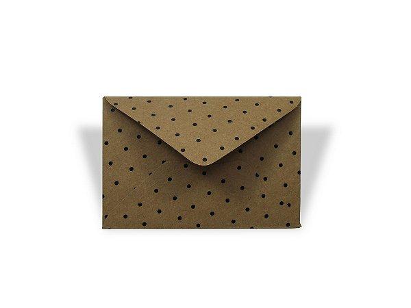 Envelopes visita Kraft Decor Bolinhas Pretas - Lado Externo com 10 unidades