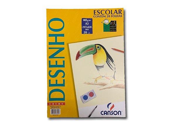 Papel para desenho Canson Creme A3 com 20 folhas
