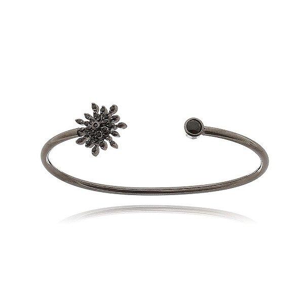 Bracelete Black Flower em banho de ródio negro