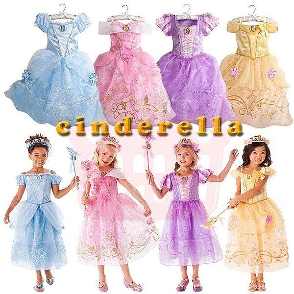 Fantasia Vestido Princesa Aurora Bela Cinderela Rapunzel