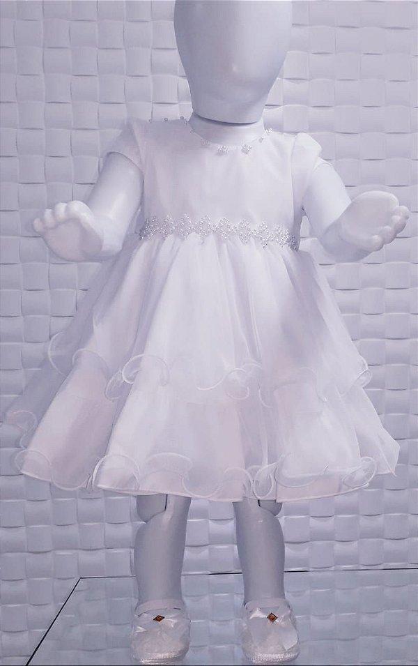 Vestido Branco Batizado Bebê Festa Sapatinho Lindo