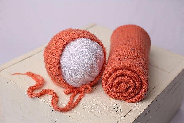 Conjunto Wrap + Touquinha Confete - Coral