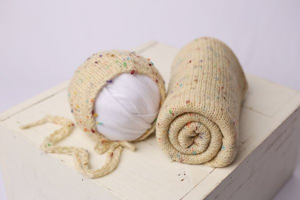 Conjunto Wrap + Touquinha Confete - Bege