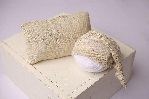 Conjunto Touquinha + Travesseiro Mesclado - Bege