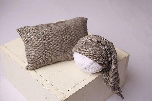 Conjunto Touquinha + Travesseiro Mesclado - Cinza