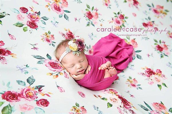 Manta Estampada - Floral Rosa