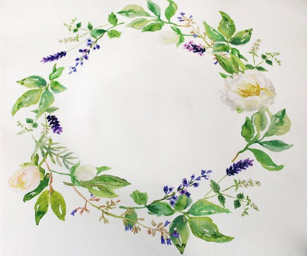 Manta Circular Watercolor - Floral