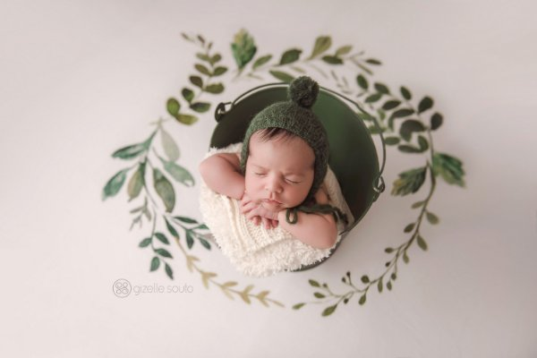 Manta Circular Watercolor - Folhagem