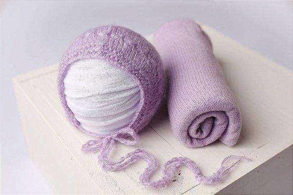 Conjunto Wrap Knit Soft + Touquinha - Lilás