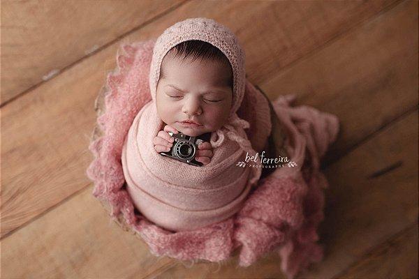 Conjunto Wrap Knit Soft + Touquinha - Rosa Claro