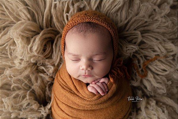 Conjunto Wrap Knit Soft + Touquinha - Caramelo