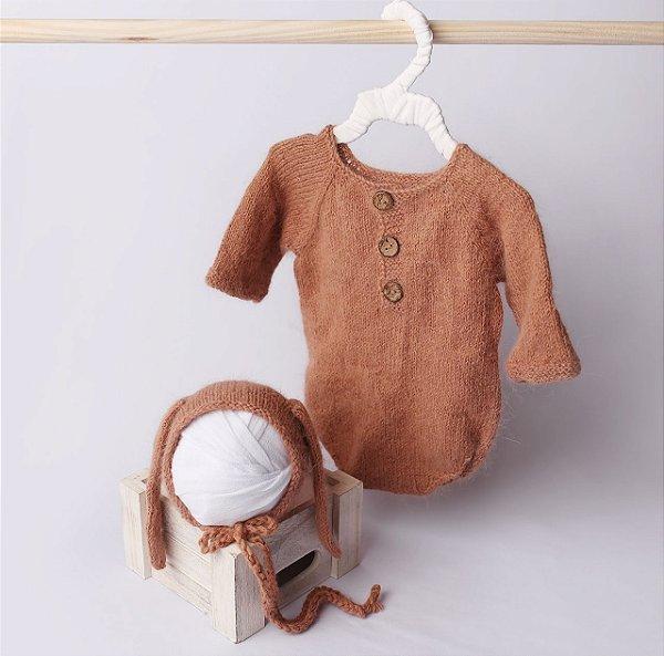Body em Lã estilo Angorá para Acompanhamento de 03 a 10 meses - Tijolo
