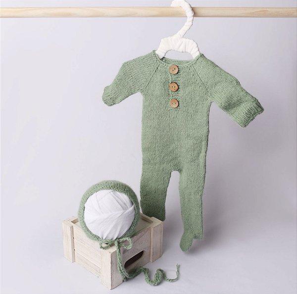 Macacão em Lã estilo Angorá para Newborn - Verde