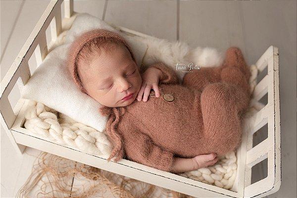 Macacão em Lã estilo Angorá para Newborn - Tijolo