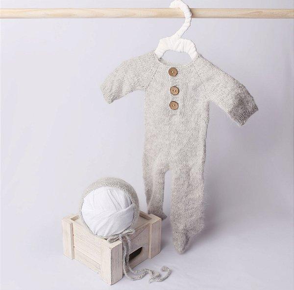 Macacão em Lã estilo Angorá para Newborn - Cinza Claro