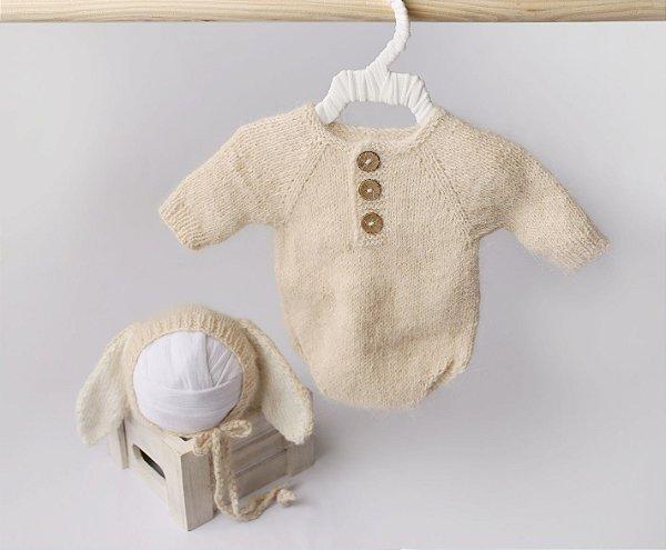 Body em Lã estilo Angorá para Acompanhamento de 01 a 02 meses com Touca de Coelho - Bege
