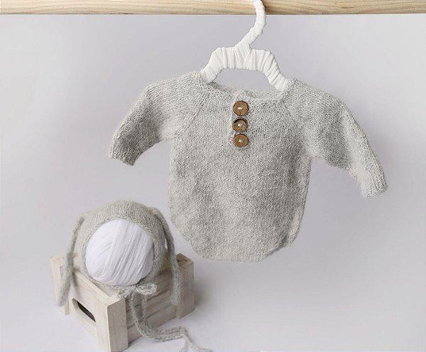 Body em Lã estilo Angorá para Acompanhamento de 01 a 02 meses - Cinza