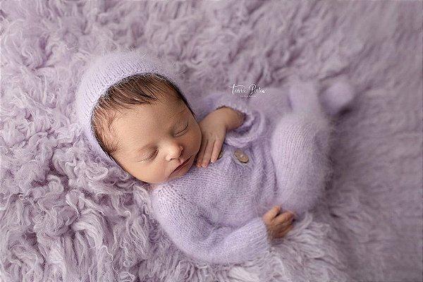 Macacão em Lã estilo Angorá para Newborn - Lilás