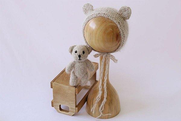 Conjunto Urso + Touquinha - Cinza Natural