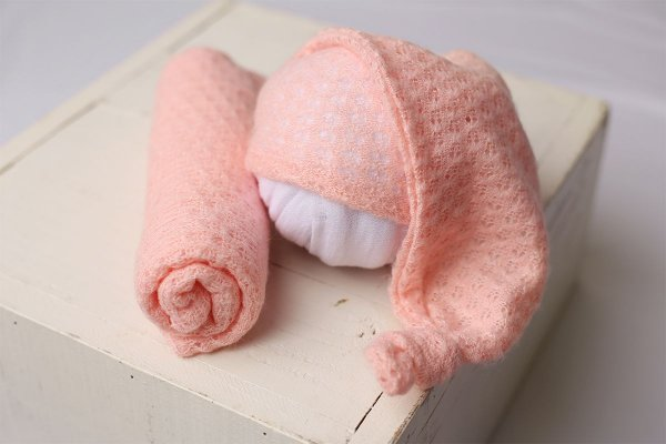 Conjunto Touquinha + Wrap Texturizado - Rosa