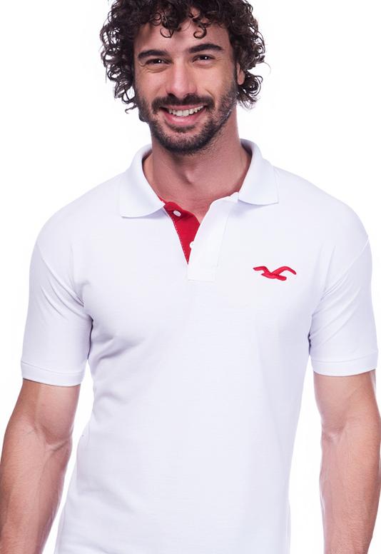Camisa Polo Hollister Branca | Oferta