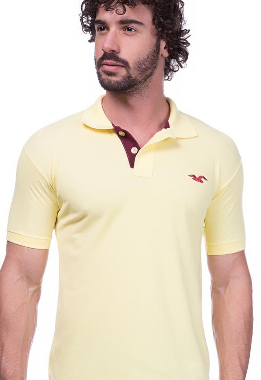Camisa Gola Polo Hollister Amarela
