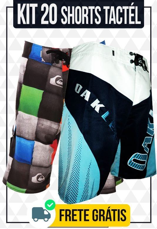 Kit com 20 Shorts Tactel + Brinde