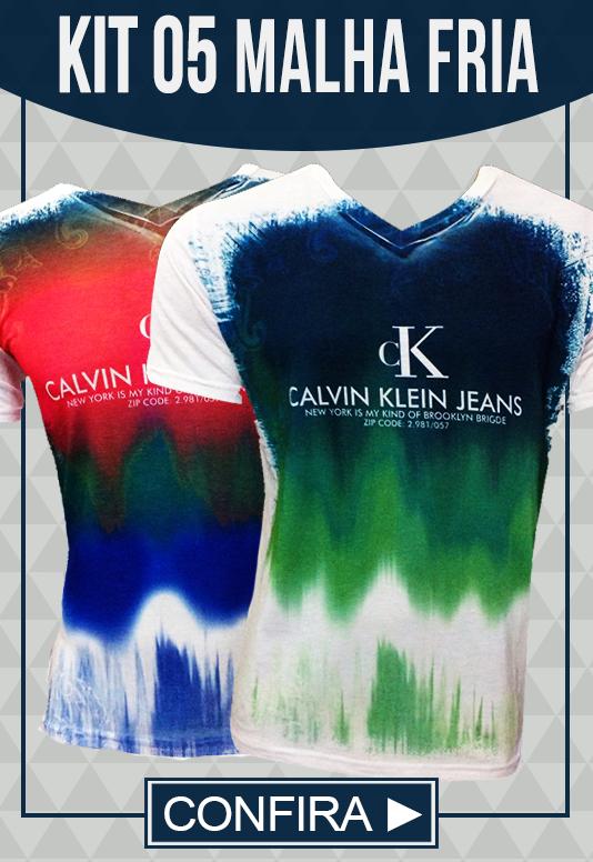 Kit 5 Camisetas Malha Fria Calvin Klein