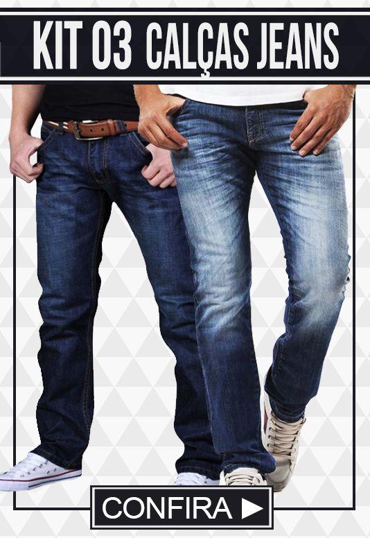 Kit com 03 Calças Jeans masculinas - Promoção