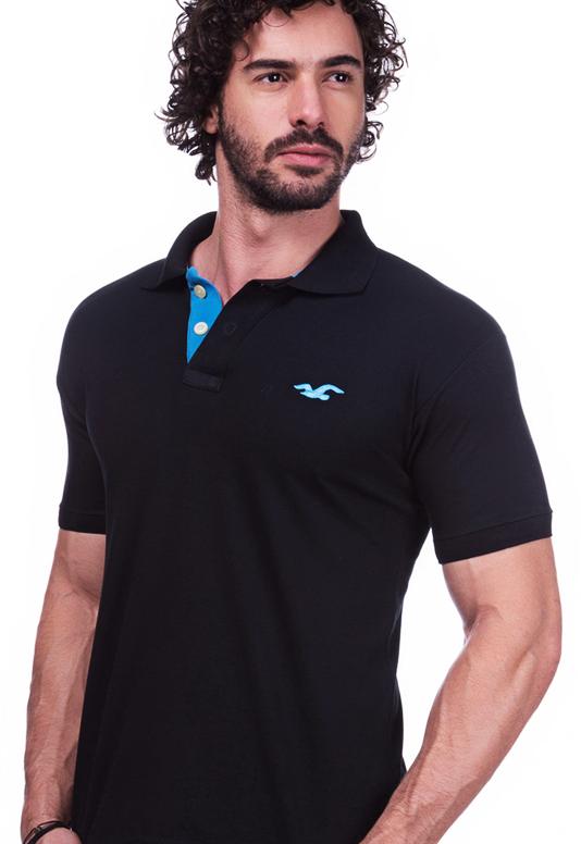 Camisa Gola Polo Hollister Preta