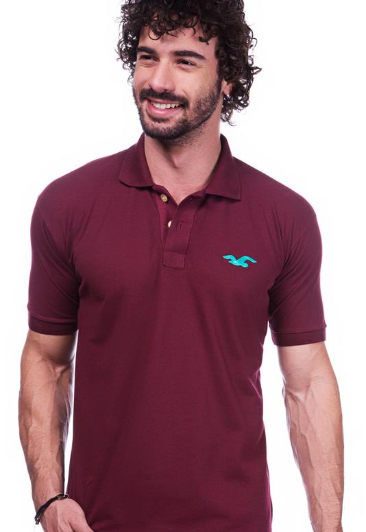 Camisa Gola Polo Hollister Vinho