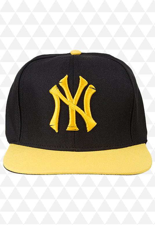 Boné New York Preto e Amarelo Aba Reta