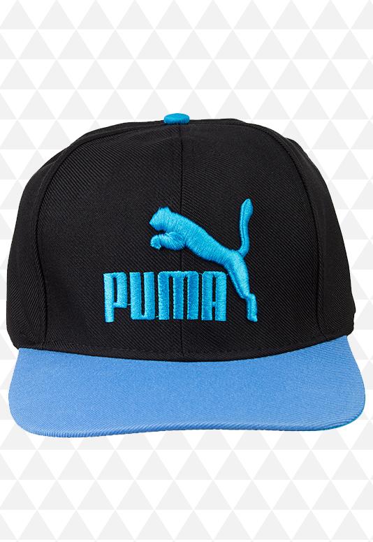 Boné Puma Preto e Azul Aba Reta