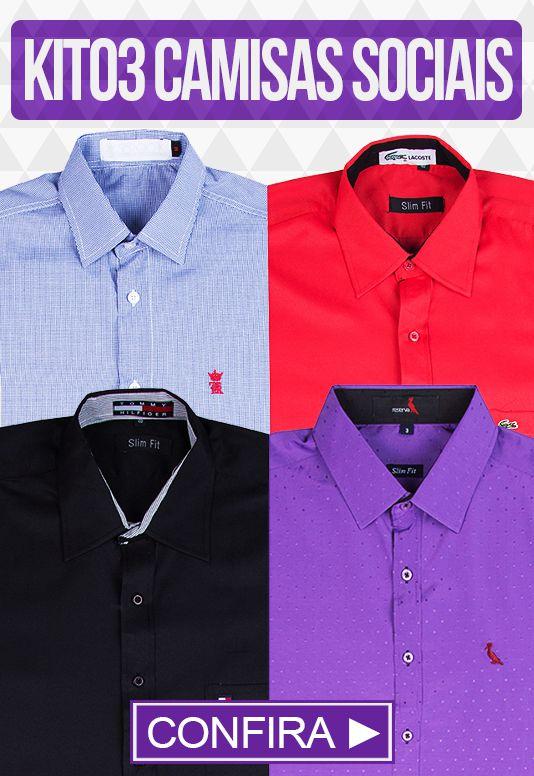 Kit com 03 Camisas Social masculinas - Varias marcas