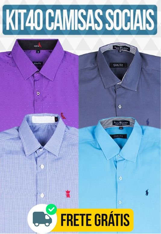 Kit com 40 Camisas Social masculinas - Varias marcas