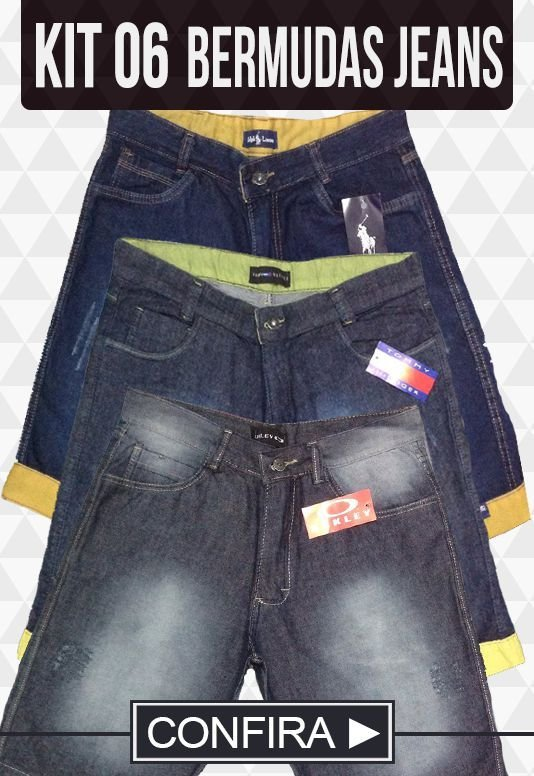 Kit com 06 Bermudas Jeans