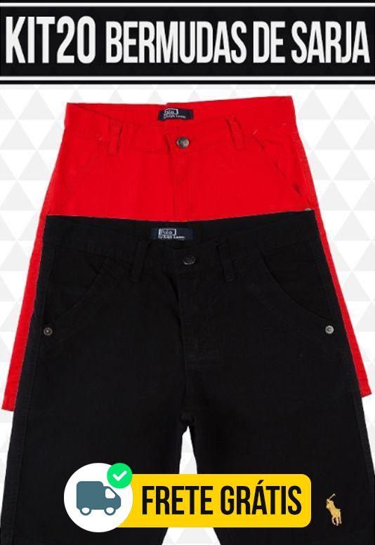 Kit com 20 Bermudas de Sarja masculina - marcas Famosas