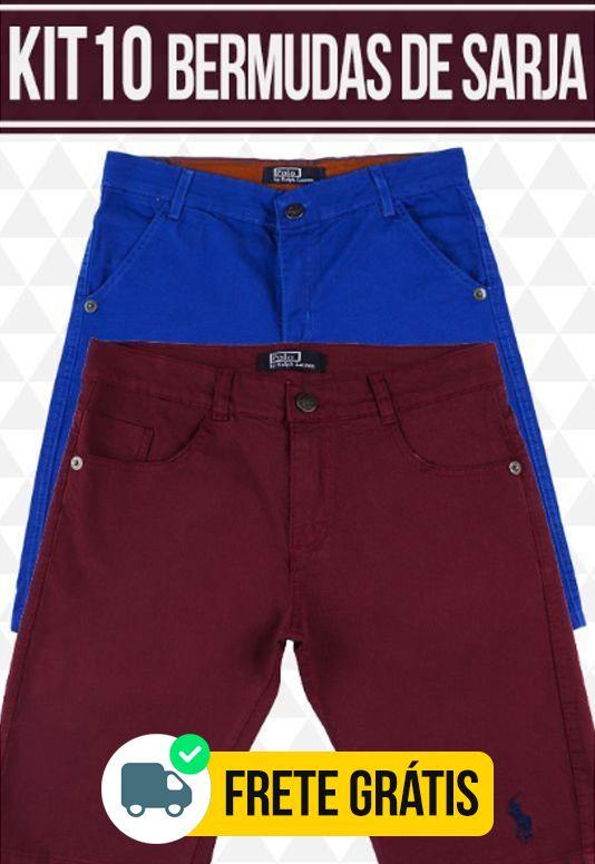 Kit com 10 Bermudas de Sarja masculina - marcas Famosas