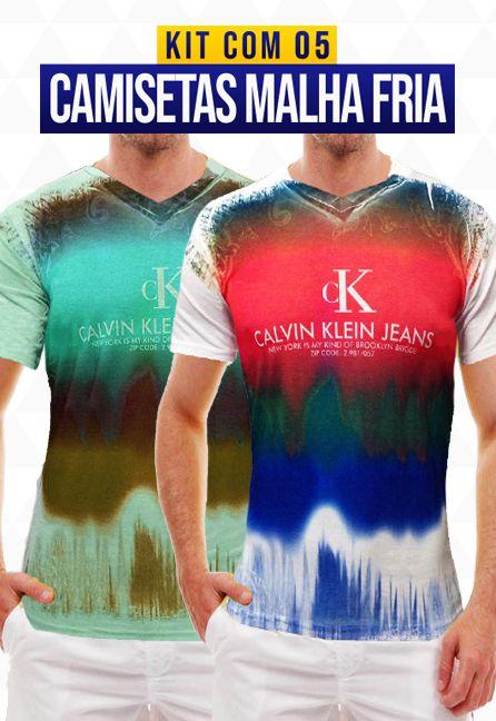Kit com 05 Camisetas Malha Fria - Calvin Klein