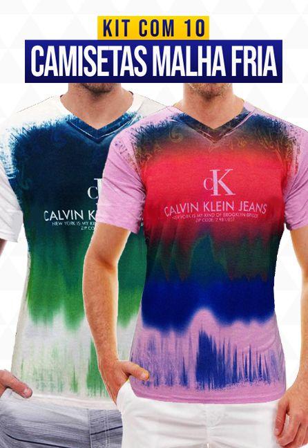 Kit com 10 Camisetas Malha Fria - Calvin Klein
