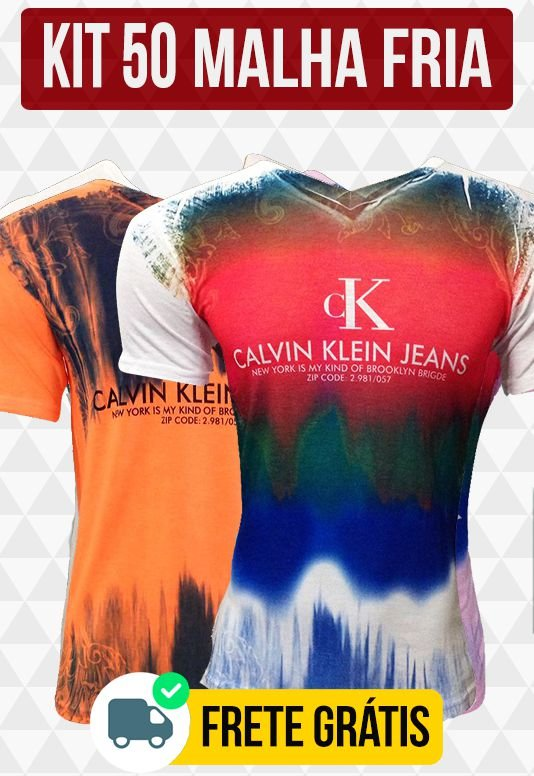 Kit com 50 Camisetas Malha Fria - Calvin Klein