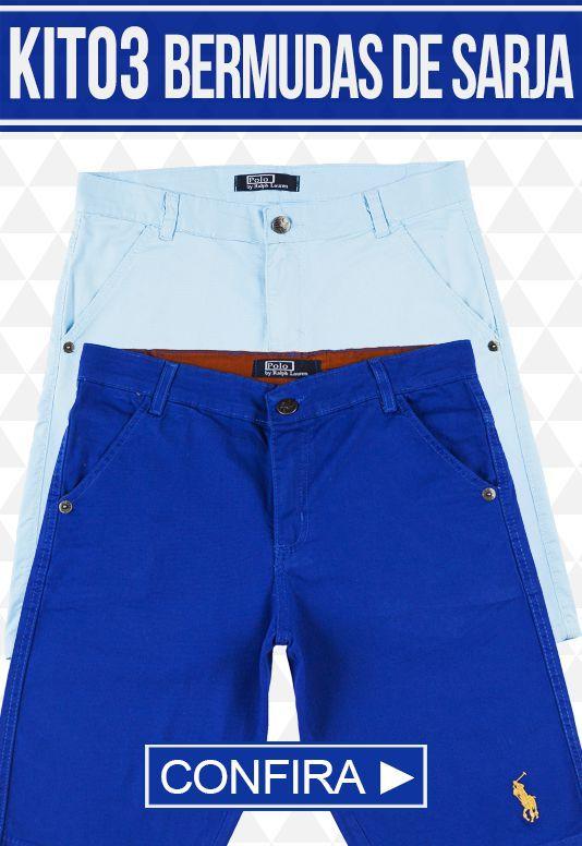 Kit com 03 Bermudas de Sarja masculina - marcas Famosas
